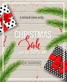 Christmas sale poster with gift boxes, serpentine and tree branches on wooden background. Vector illustration for website and bann. Christmas sale poster with Royalty Free Stock Photography