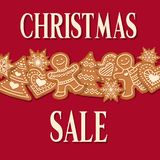 Christmas sale poster with gingerbread design royalty free illustration