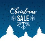 Christmas sale poster lettering snow tree mountain blue background. Vector illustration Royalty Free Stock Images