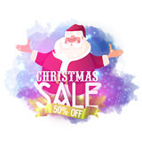 Christmas Sale Poster with Santa Claus. Christmas Sale with 50% Off. Illustration of smiling Santa Claus on abstract background Stock Image