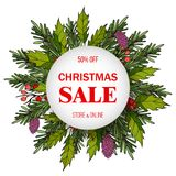 Christmas sale poster, special offer, discount. Vector illustration Royalty Free Stock Photo