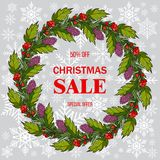 Christmas sale poster, special offer, discount. Vector illustration Stock Image