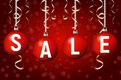 Christmas sale poster template, Vector background. Christmas sale poster template, Christmas sale banner with tree balls hanging, Vector red background. eps 10 Stock Images