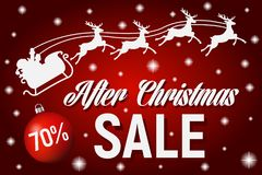 After Christmas sale poster template,, Vector. After Christmas sale poster template, Christmas sale banner with tree balls, Vector red background. eps 10 Royalty Free Stock Photo