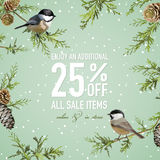 Christmas Sale Poster with Winter Bird Stock Photos