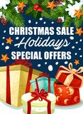 Christmas holiday sale gifts offer vector poster Stock Photos