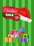 Christmas Sale Poster Wrapped Present, Promo Label. Christmas sale 55 off poster with wrapped presents, promo label Santas hat vector illustration discount Stock Photo