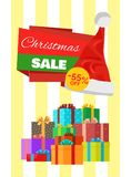 Christmas Sale Poster Wrapped Present, Promo Label. Christmas sale poster 55 off with wrapped presents, promo label Santas hat vector illustration discount Royalty Free Stock Images