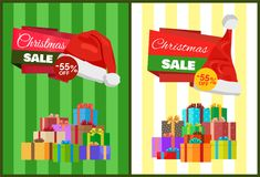 Christmas Sale Poster Wrapped Present, Promo Label. Set of Christmas sale posters 55 off with wrapped presents, promo label Santas hat vector illustration Royalty Free Stock Images