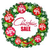 Christmas sale poster. Wreath with discount tags 10,20,30,40,50,60,70 percent off. Handwritten lattering. Vector. Christmas sale poster. Wreath with discount royalty free illustration