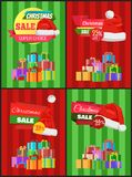 Christmas Sale Posters Santas Hat Discount Label. Christmas sale posters Santa Claus hat on 50 discount label, dollar sign, piles of gift boxes on striped Stock Photo