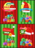 Christmas Sale Posters Santas Hat Discount Label. Christmas sale posters Santa Claus hat on 50 discount label, dollar sign, piles of gift boxes on striped Royalty Free Stock Photos