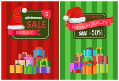 Christmas Sale Posters Santas Hat Discount Label. Christmas sale posters Santa Claus hat on 50 discount label, dollar sign, piles of gift boxes on striped Royalty Free Stock Photography