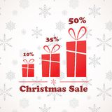 Christmas sale: present boxes in different sizes Stock Image