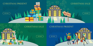 Christmas Sale and Present Web Banners. Best Store. Christmas sale and christmas present web banners set. Xmas sale glowing shop. Elves and present boxes Royalty Free Stock Images