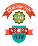 Christmas Sale Price Off New Year Decorated Tree. Christmas sale shop now 4.99 final price poster with promo labels, vector illustration advertisement stickers Royalty Free Stock Photos