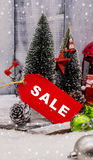 Christmas Sale. Christmas on sale with price tag, shopping in Winter, Boxing day royalty free stock photo