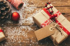 Christmas and New Year on a wooden background Stock Photos