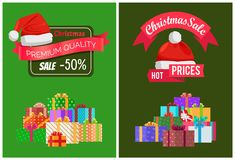 Christmas Sale on Products of Premium Quality. Advertisement banners with gift boxes in big heap and festive red Santas hat vector illustrations set Stock Images