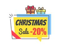 Christmas Sale Promo Label with Discount 20 Icon. Christmas sale promo label with discount 20 topped by gift boxes, simple style sticker in speech bubble info Stock Image