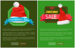 Christmas Sale Promotion Cards Vector Illustration. With text samples, push-buttons red snowflake, Santa s hats with bubo isolated on green backgrounds Stock Images