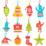 Christmas sale and promotion tag and dangler Stock Images
