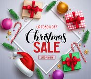 Christmas sale promotional banner with gifts and colorful christmas elements stock photography