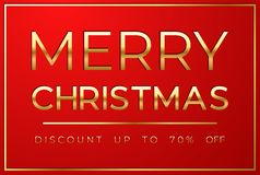 Christmas sale on red background stock illustration