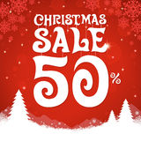 Christmas sale on red background. Vector illustration Stock Images