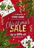 The Christmas sale. Red banner for web or flyer. The Christmas sale. Discounts up to 60 percent. Banner for website or advertising flyer. Realistic vector vector illustration
