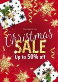 The Christmas sale. Red banner for web or flyer. The Christmas sale. Discounts up to 50 percent. Banner for website or advertising flyer. Realistic vector Royalty Free Illustration