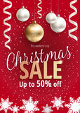 The Christmas sale. Red banner for web or flyer. The Christmas sale. Discounts up to 50 percent. Banner for website or advertising flyer. Realistic vector Royalty Free Stock Photography
