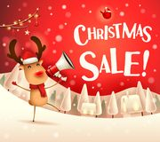 Christmas Sale! The red-nosed reindeer with megaphone in Christmas snow scene winter landscape. Christmas cute cartoon character royalty free illustration