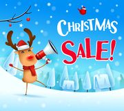 Christmas Sale! The red-nosed reindeer with megaphone in Christmas snow scene winter landscape. Christmas cute cartoon character stock illustration