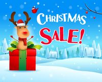 Christmas Sale! The red-nosed reindeer sit on gift present in Christmas snow scene winter landscape. Christmas cute cartoon character royalty free illustration