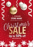 The Christmas sale. Red poster for shop. The Christmas sale. Advertising poster for the store. Discounts up to 50 percent. Red banner for website or flyer Stock Image