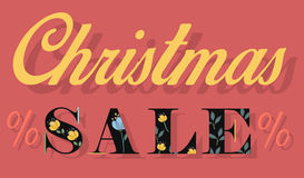 Christmas Sale with retro letters royalty free stock photography