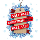 Christmas Sale Ribbon Cardboard Price Sticker Snowflakes Royalty Free Stock Photos