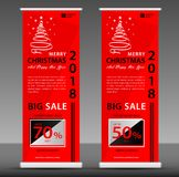 Christmas sale Roll up banner template, flyer layout vector royalty free illustration