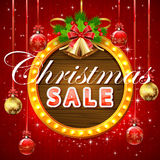 Christmas sale on round banner Royalty Free Stock Images