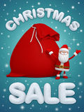 Christmas sale, Santa Claus, 3d snow text. Christmas sale poster with 3d snow text Royalty Free Stock Image