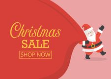 Christmas sale with Santa Claus with huge bag vector illustration