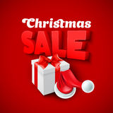 Christmas Sale with Santa hat. Vector illustration. Christmas gift box and Santa hat. Vector illustration EPS 10 Royalty Free Stock Images