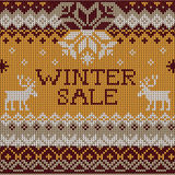 Christmas Sale: Scandinavian style seamless knitted pattern Royalty Free Stock Photos