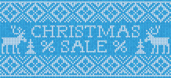 Christmas Sale: Scandinavian style seamless knitted pattern with Royalty Free Stock Photography