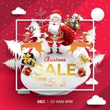 Christmas Sale Season Design Template. Paper art and digital craft style. vector illustration Greeting card, poster, banner, promo royalty free illustration