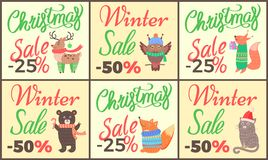 Christmas Sale Set of Posters Vector Illustration. Christmas sale set of posters with titles and images of reindeer, owl and fox with present, bear with candy Stock Photography