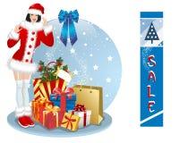 Christmas sale and sexy woman Stock Image