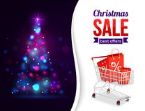 Christmas sale shining typographical background Stock Photo