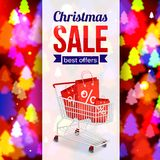 Christmas sale shining typographical background. With xmas tree lights and shopping cart. Vector illustration royalty free illustration